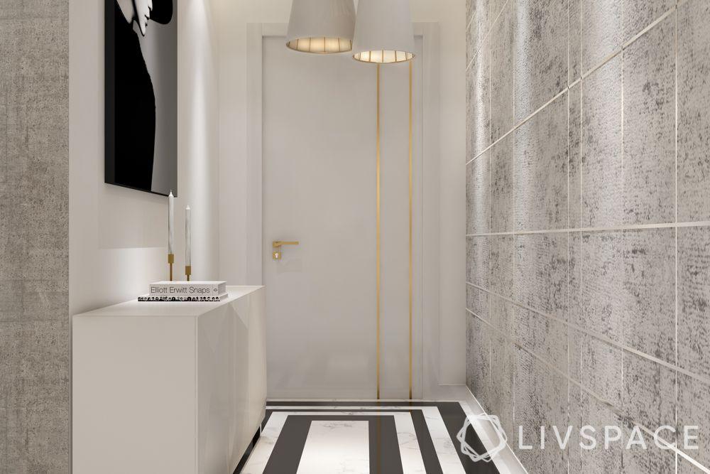 Foyer design-Black and White-flooring-pendant lights