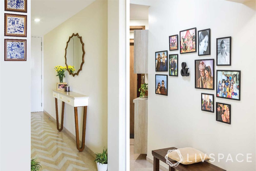 Foyer design-console table-mirror-gallery wall