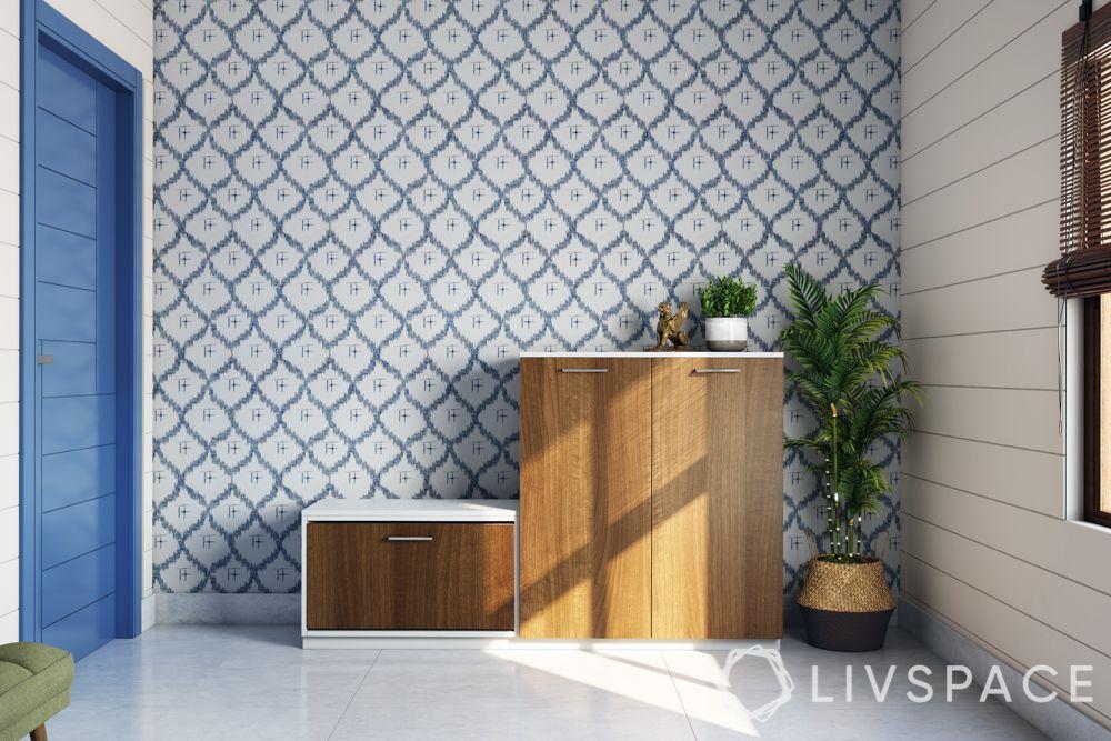 shoe cabinet-plants-blue door-wallpaper