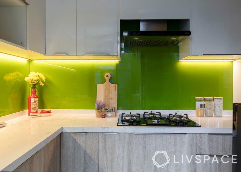 countertop design-white top-green backsplash