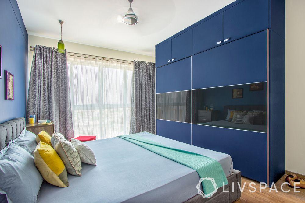 wardrobe-designs-blue-matte-with-mirror-sliding-door