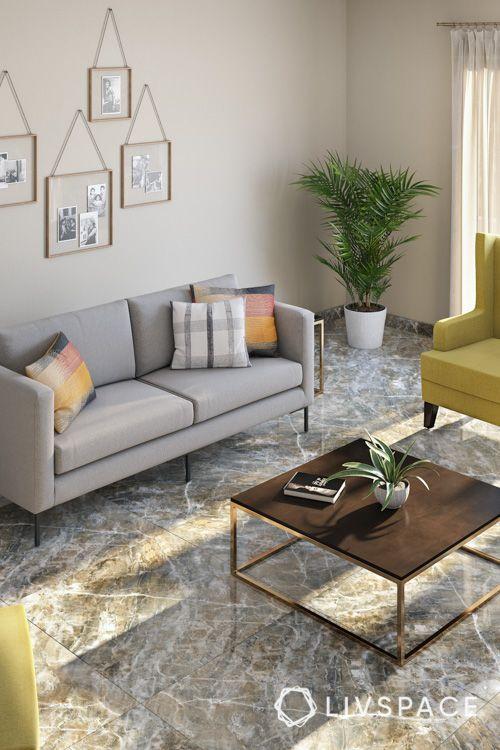marble-floor-design-veiny-pattern-grey-sofa-plants-yellow-seat-wooden-coffee-table