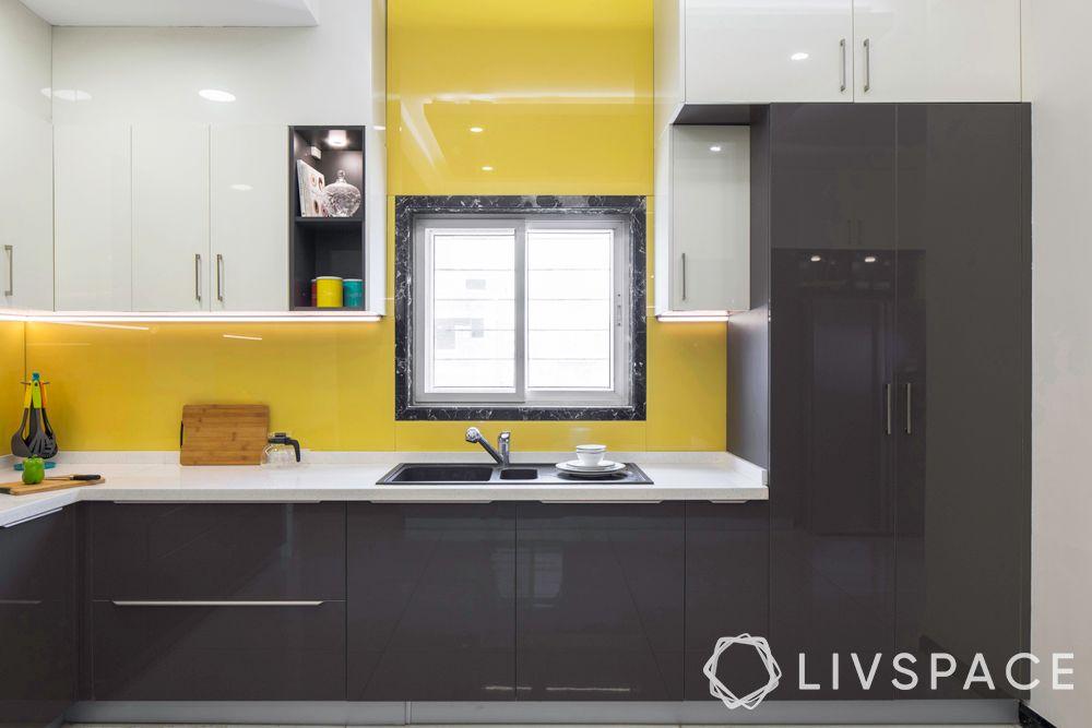 Kitchen-cabinet-materials-glass-finish-yello-grey