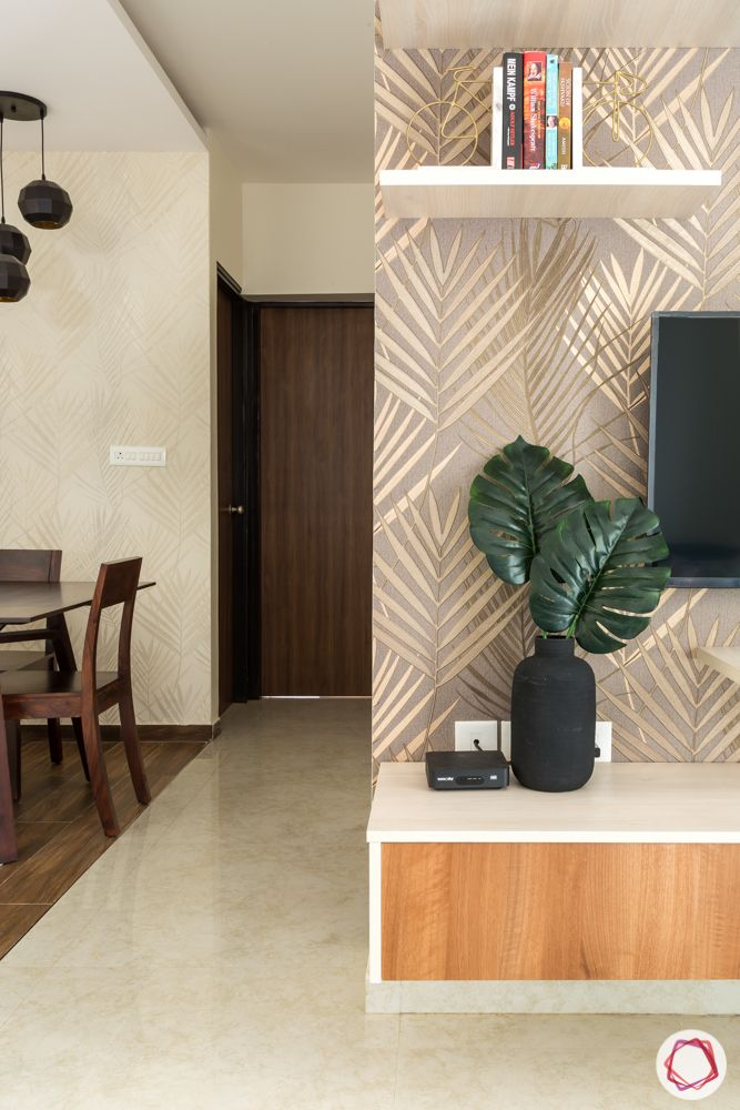 lodha amara thane-brown wallpaper designs-laminate tv unit