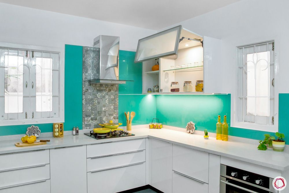 modular kitchen materials-touch to close shutters