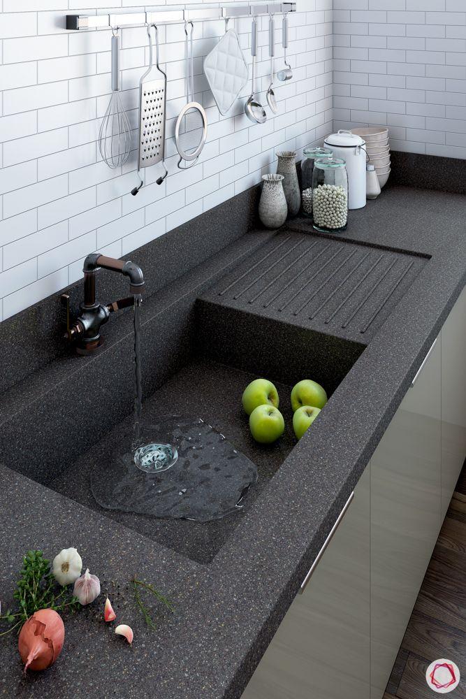 modular kitchen materials-sink with drainboard