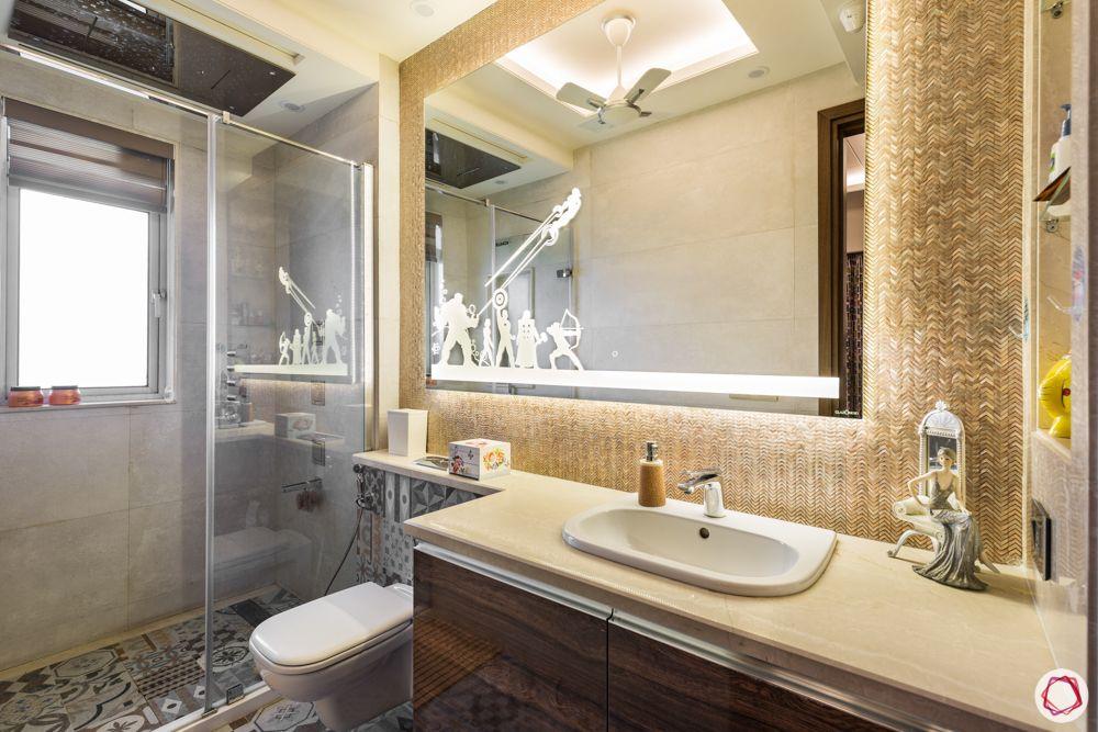 bathroom-rectangular-mirror-white-counter-wooden-cabinets