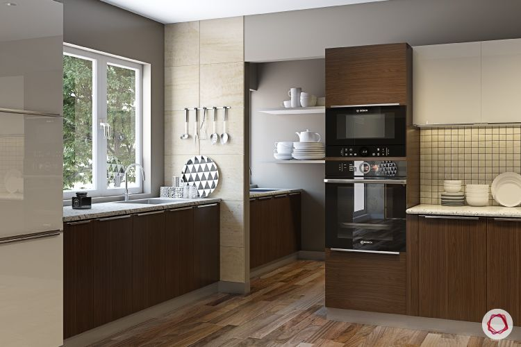 Modular kitchen laminates-timber laminates-tall-unit-sink-window