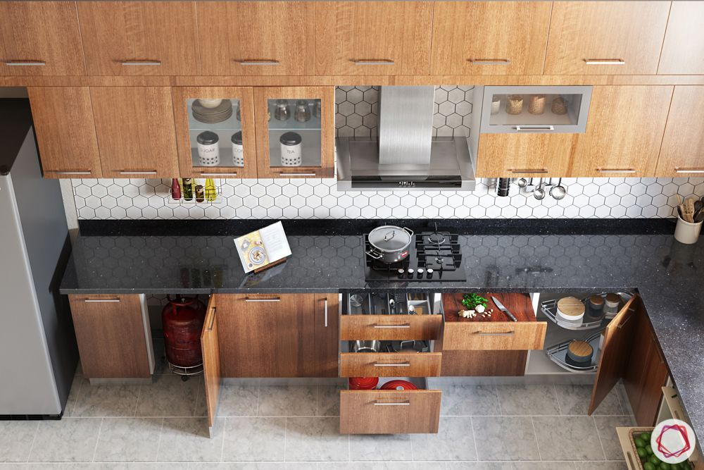 L-shaped-kitchen-accessories-wooden cabinets-pullout drawer