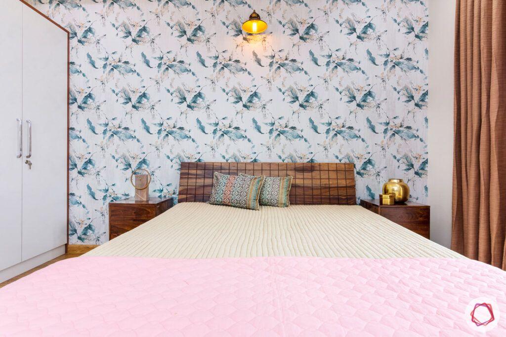 interior-in-gurgaon-master-bedroom-side-tables-floral-wallpaper