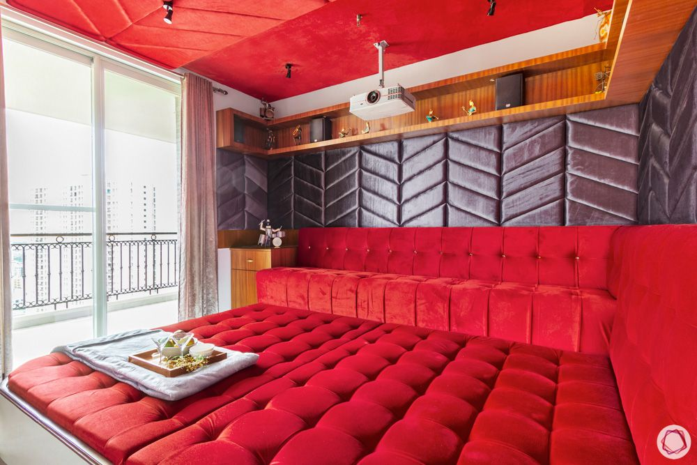 gypsum-red upholstery designs-soundproof room