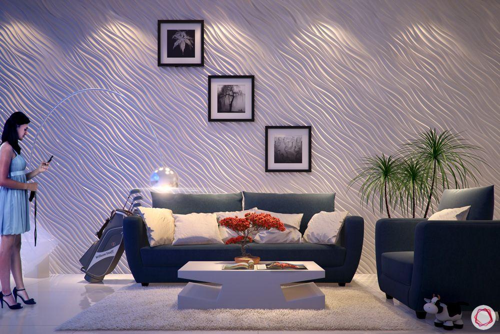 gypsum-white wall ideas-blue sofa designs