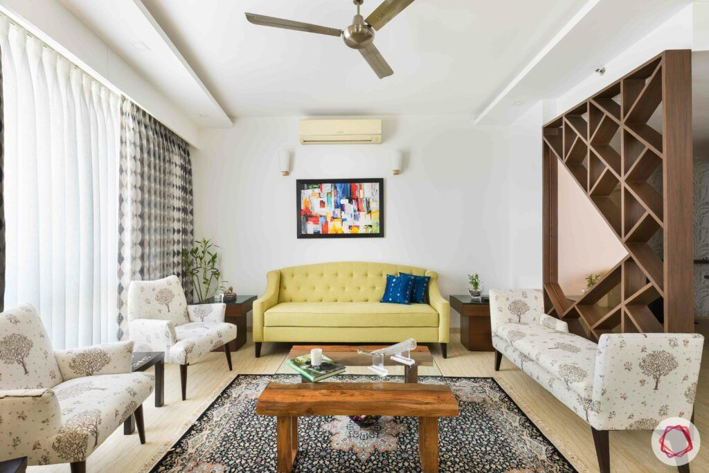 livspace gurgaon-yellow sofa designs-partition designs