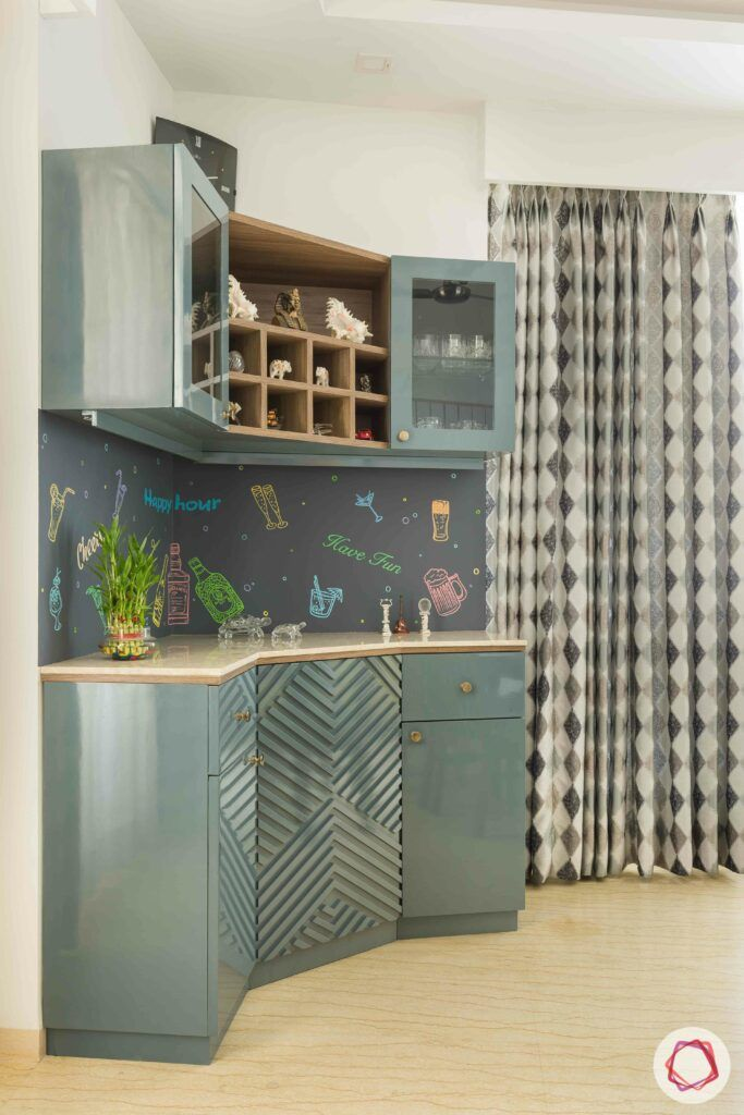 livspace gurgaon-grey cabinet designs-grey wallpaper ideas
