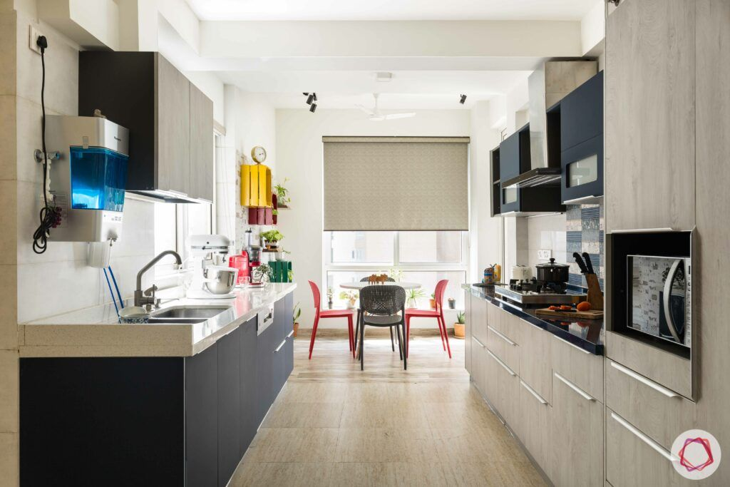 livspace gurgaon-two-toned kitchen designs-parallel kitchen