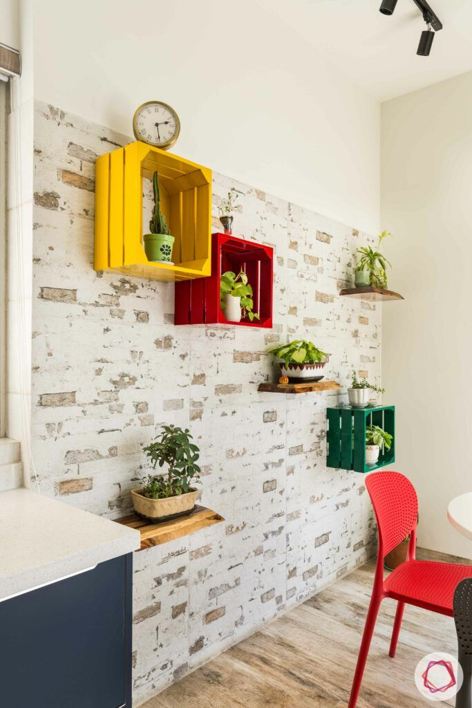livspace gurgaon-wall-mounted plants-colourful shelves