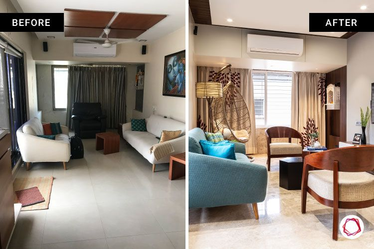 home makeover India-living room-sofa-chairs-before and after images