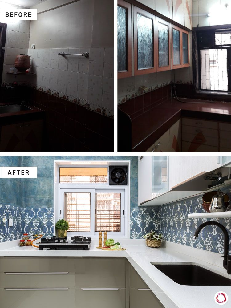 home makeover India-kitchen before and after-pattern backsplash