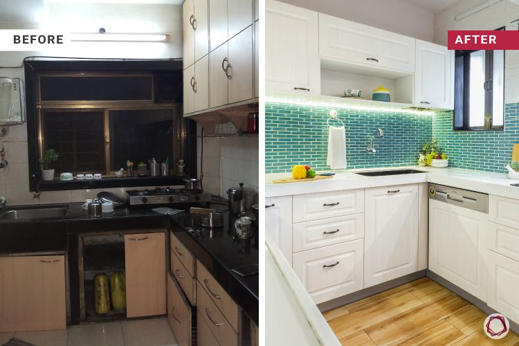 green backsplash-before and after-wooden flooring