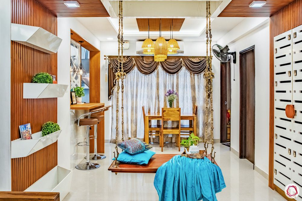 livspace home interiors-wooden swing designs-wooden indian decor
