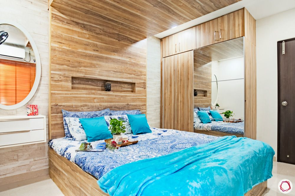 livspace home interiors-wooden headboard designs-wooden ceiling designs