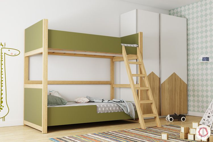 trundle bed-green bunk bed-kids room-wooden wardrobe-study unit