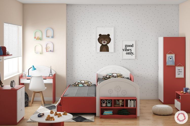 trundle bed-red trundle bed-kids room-red cabinets-red study unit