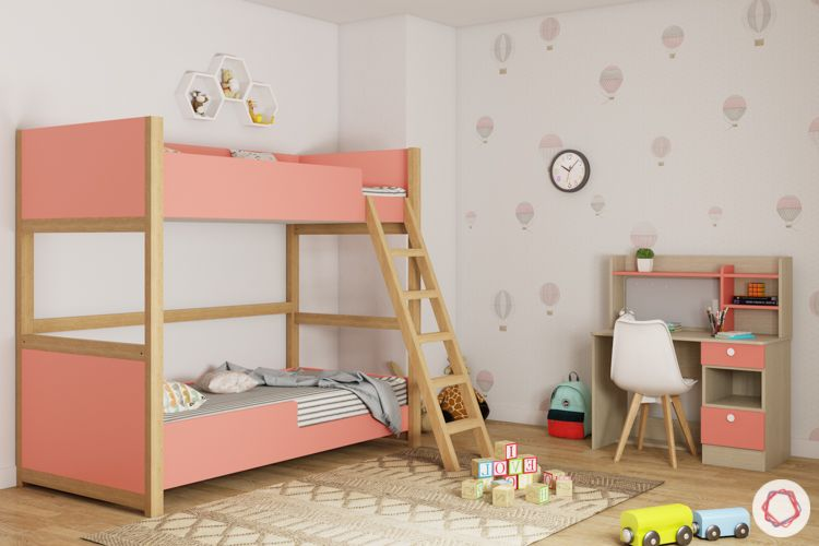 trundle bed-pink bunk bed-kids room-cabinets-study unit