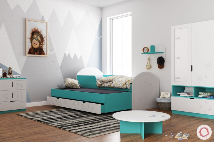 trundle bed-blue trundle bed-kids room-cabinets-study unit