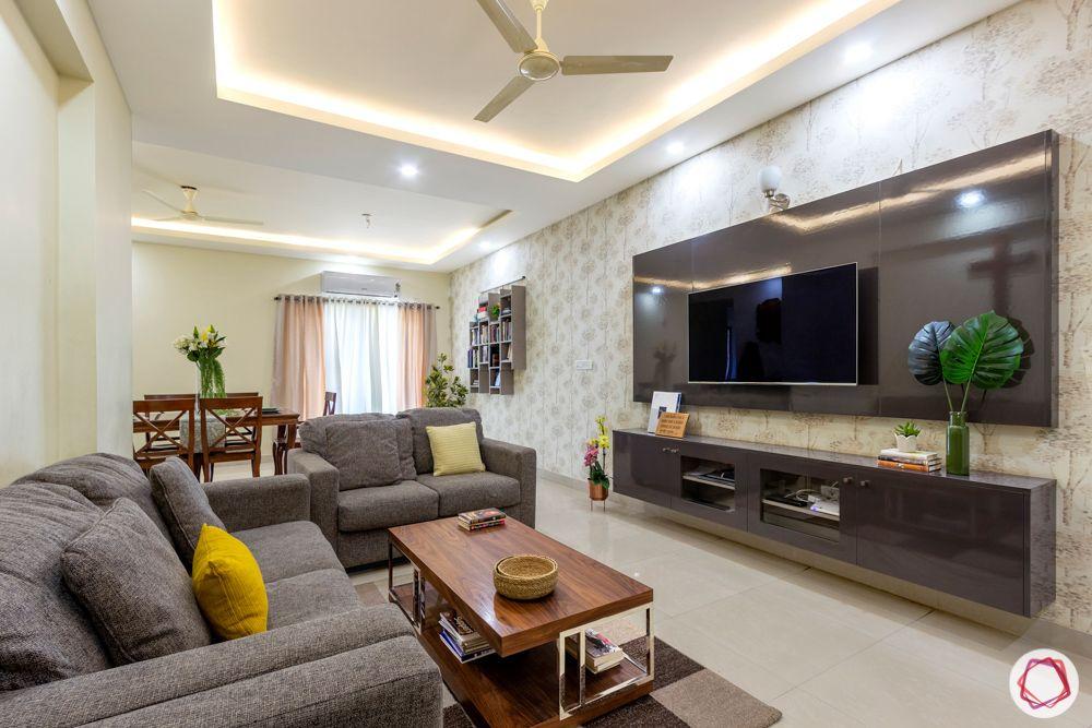 Salarpuria Sattva Aspire-foyer-jaali-sofa-coffee-table-TV-unit-grey