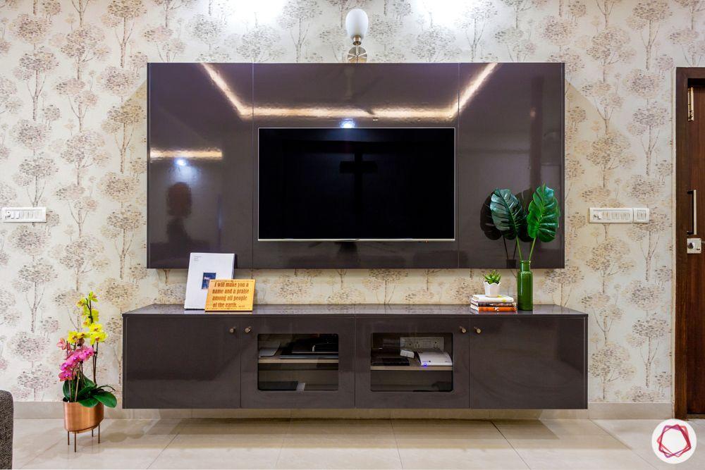 Salarpuria Sattva Aspire-wallpaper-floral-TV-unit-mounted