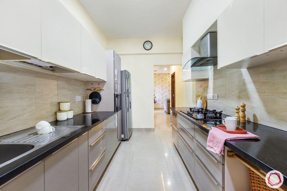 Salarpuria Sattva Aspire-kitchen-cabinets-white-grey-parallel-layout