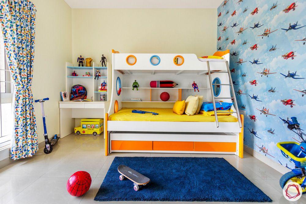 kids-bedroom-wallpaper-bunk-bed-storage