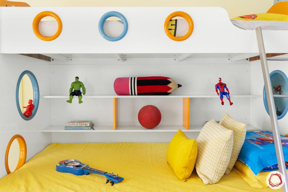 kids-bedroom-bunk-bed-window-shelves-ladder-toys