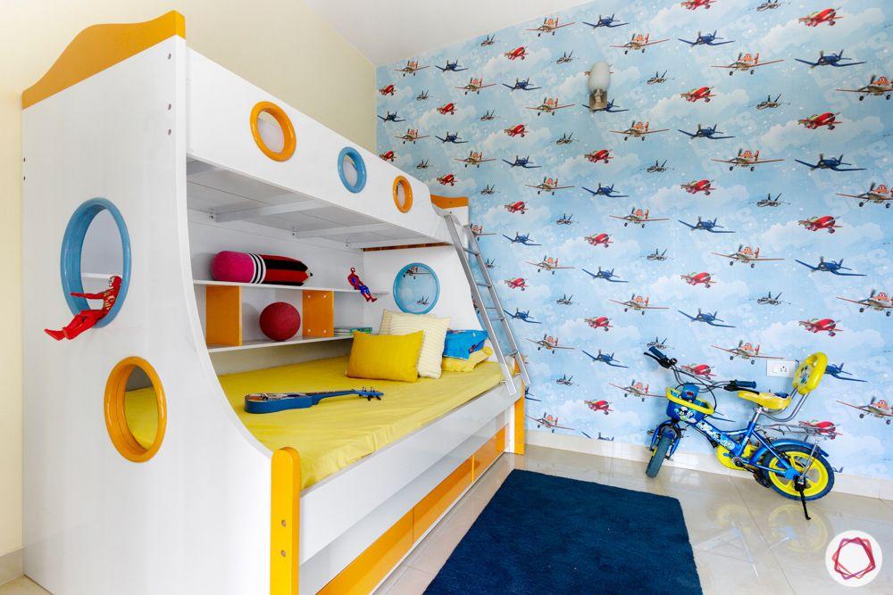 kids-bedroom-wallpaper-bunk-bed-storage-cycle