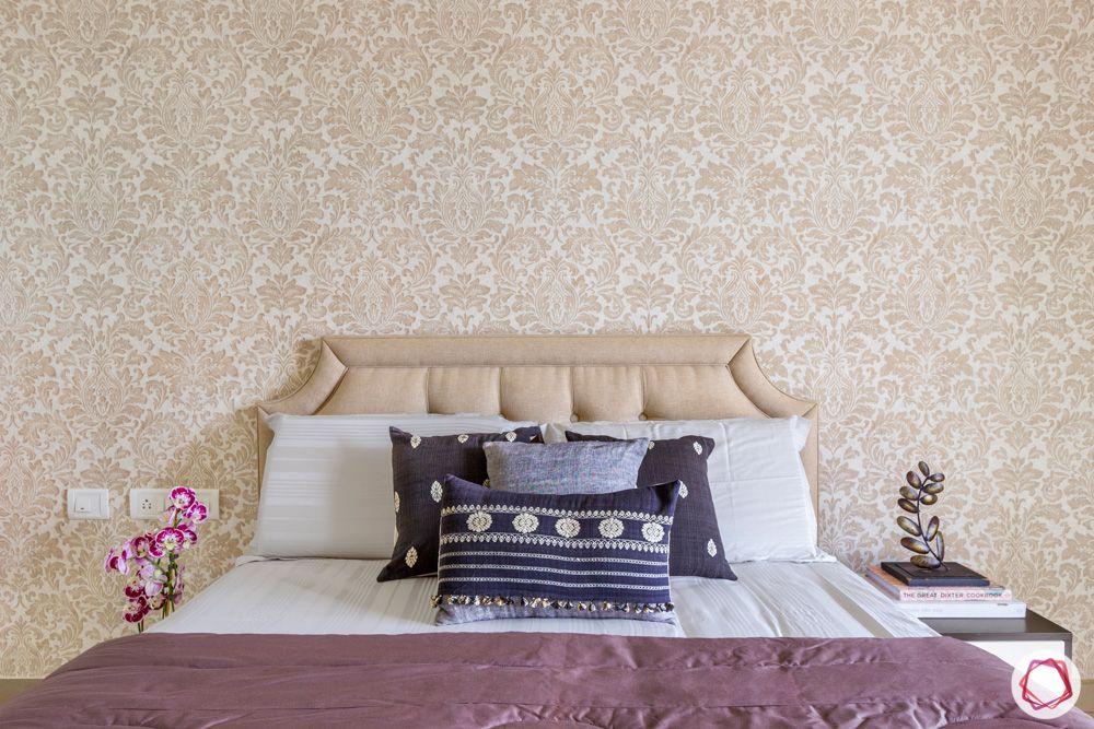 guest-bedroom-neutral-wallpaper-subtle-headboard