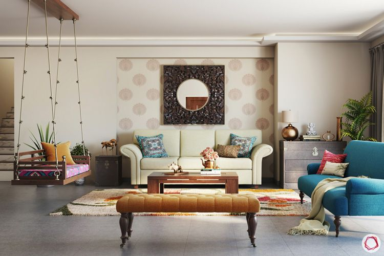 irrfan khan-living room-white sofa-swing-wallpaper-mirror-wooden furniture