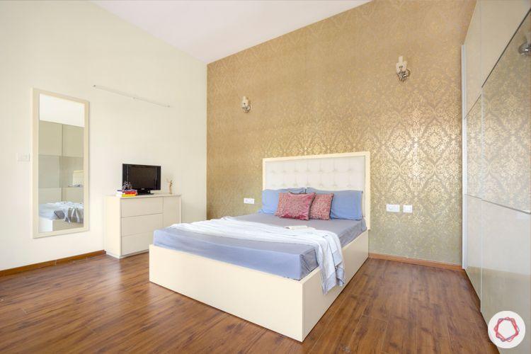 wooden floor designs-beige wallpaper designs-white bed designs