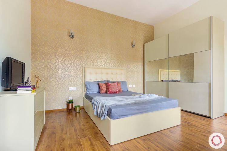 wooden floor designs-white sliding wardrobe