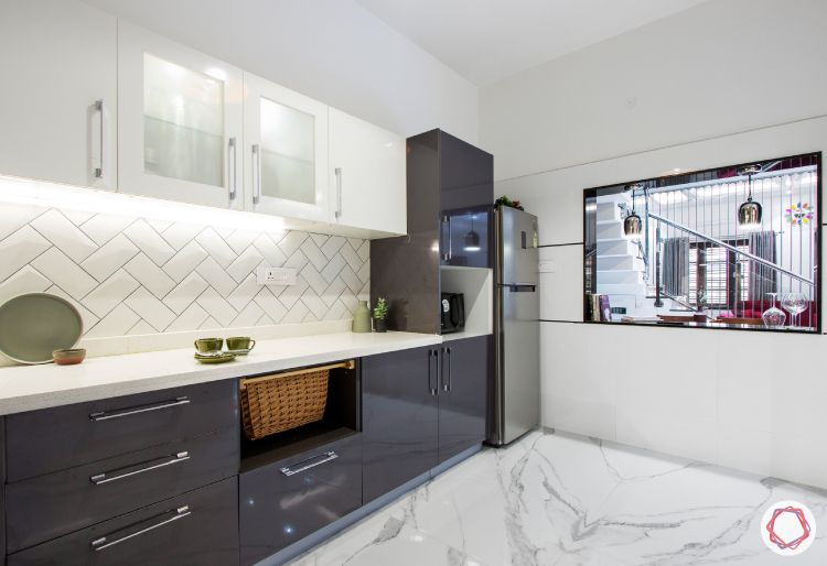 budget kitchens-two-toned kitchen-serving window design