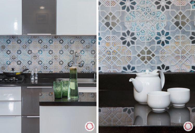 budget kitchens-two-toned kitchen-floral tiles for backsplash