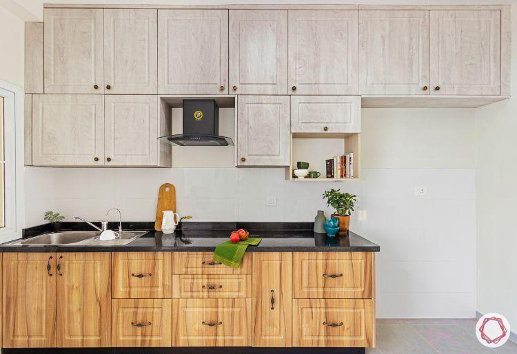 budget kitchens-two-toned kitchen-membrane kitchen cabinet finish