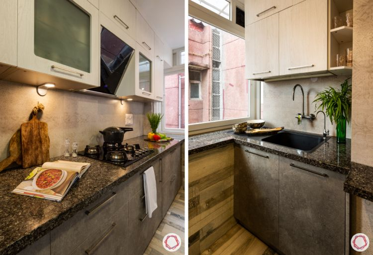 two-toned kitchen-ergonomic kitchen-black granite countertop