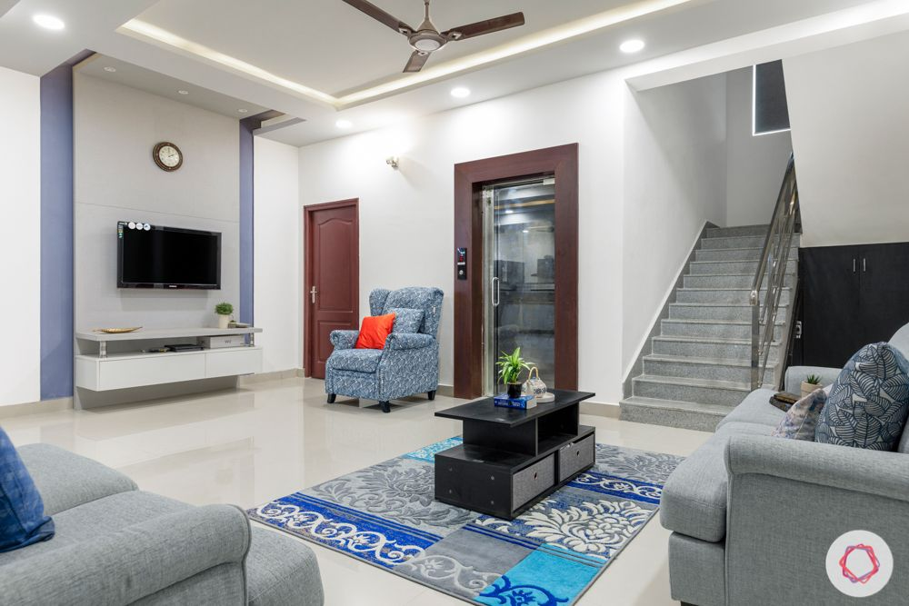 top interior designers in hyderabad-living room-wooden frame-grey sofa designs-coffee table