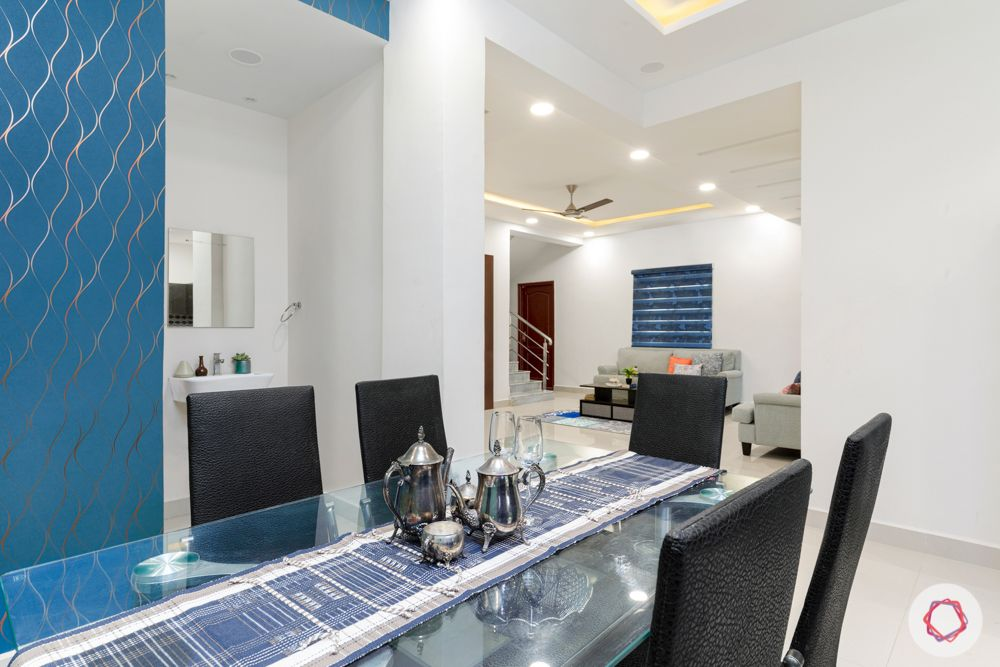 top interior designers in hyderabad-dining room-blue wallpaper
