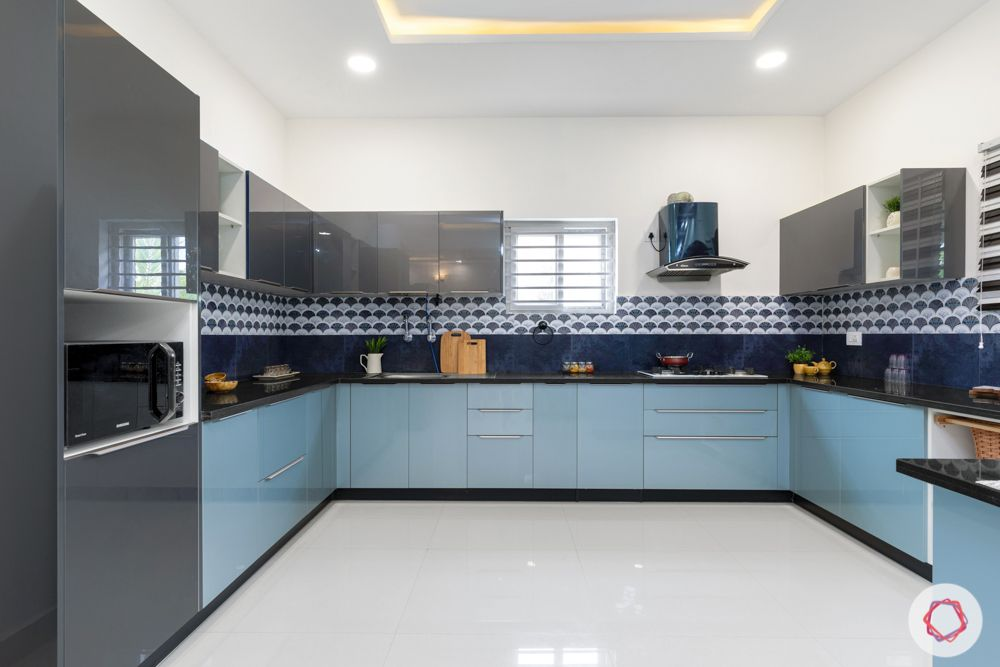 top interior designers in hyderabad-kitchen-grey and blue cabinets-blue backsplash