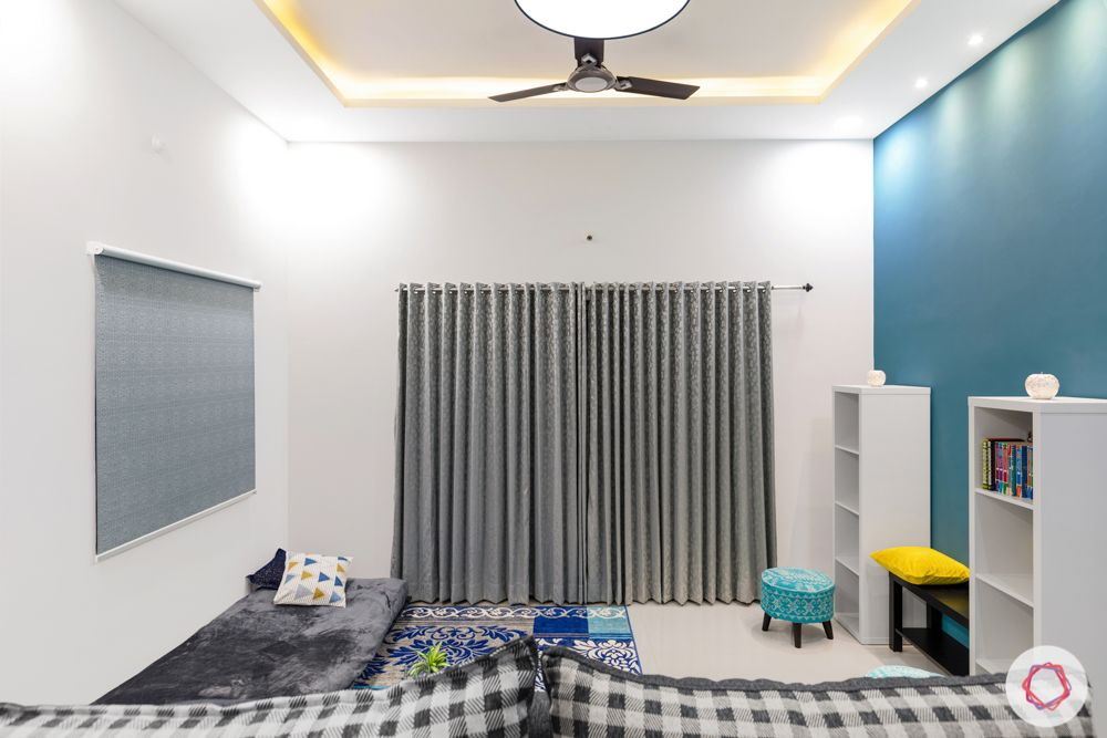 top interior designers in hyderabad-grey and blue theme-lighting-bookshleves