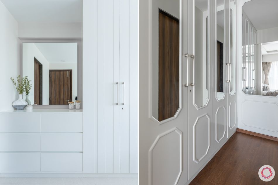 livspace wardrobe design-white moulding-mirror