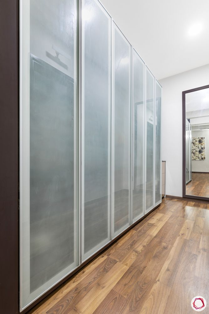 frosted glass-walk-in wardrobe-wooden flooring