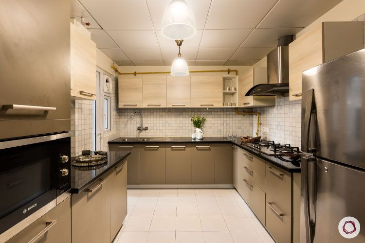 low budget home design-modular kitchen-neutral coloured cabinets-U-shaped kitchen